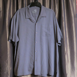 Tommy Bahama Silk button front shirt gray XL